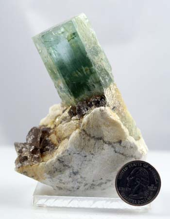 Beryl crystal that cracked out of the quartz matrix nicely.